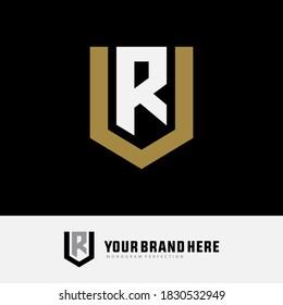 Monogram logo letter U, R, UR or RU modern, simple, sporty, gold and white color on black background