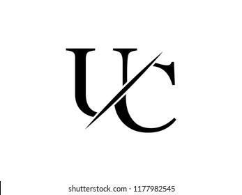 The monogram logo letter UC is sliced