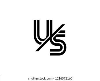 The monogram logo letter US is sliced black