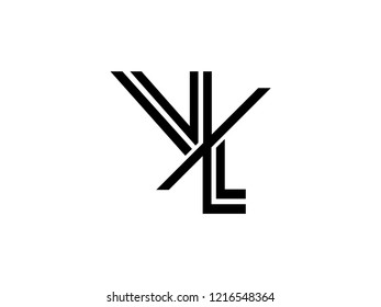 The monogram logo letter VL is sliced black