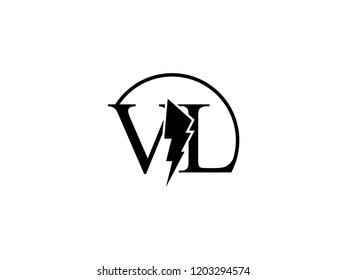 The monogram logo letter VL is split by lightning