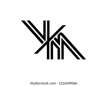 The monogram logo letter VM is sliced black