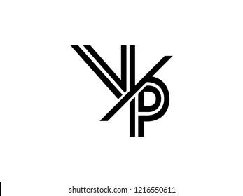 The monogram logo letter VP is sliced black