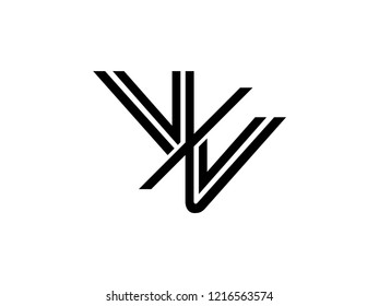 The monogram logo letter VV is sliced black