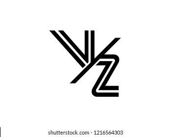 The monogram logo letter VZ is sliced black