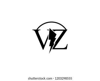 The monogram logo letter VZ is split by lightning