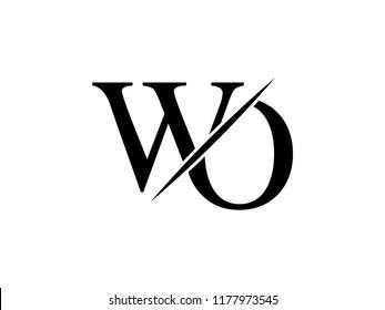 The monogram logo letter WO is sliced