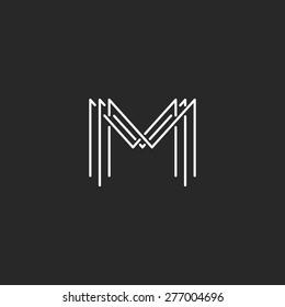 Monogram logo lettering letter M, design business card mockup interweaving thin lines initials MMM emblem