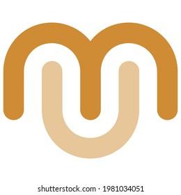 Monogram Logo M U Vector