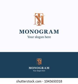 Monogram logo. Monogram t m blue gold logotype. Antique premium template
