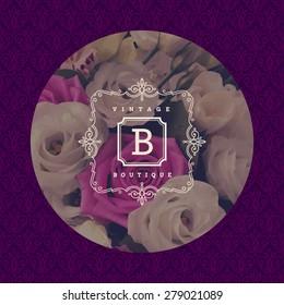 Monogram logo template with flourishes calligraphic elegant ornament. Identity design for boutique or store, cafe, shop, restaurant, hotel, heraldic, fashion and etc.