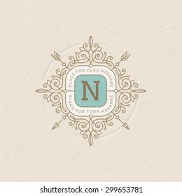 Monogram logo template with flourishes calligraphic elegant ornament elements. Identity design with letter for cafe, shop, store, restaurant, boutique, hotel, heraldic, fashion and etc.