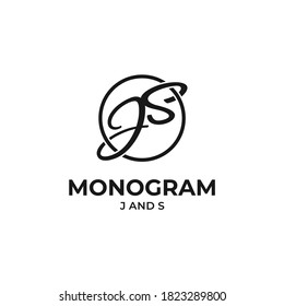 monogram logo vector modern simple with symbol letters js design and white background
