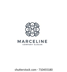 monogram, luxury, beauty, elegant letter M logo
