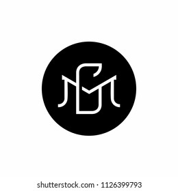 monogram MG logo design,  GM logo design template