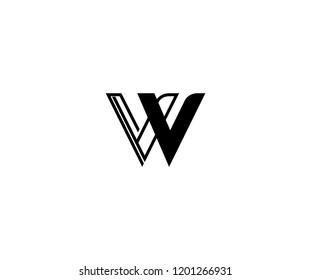 Monogram Minimalist Linear Outline Linked Letter VV W Logo Design