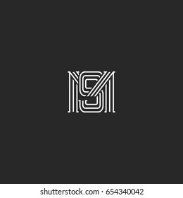 Monogram MS letters logo overlapping lines simple hipster typography design element, combination M and S Initials wedding invitation SM emblem