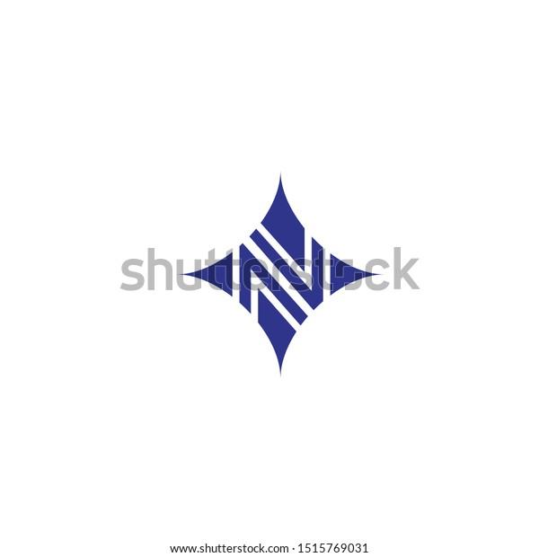 Monogram N Star Logotype Vector Stock Vector Royalty Free 1515769031