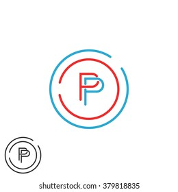Monogram P letter logo mockup, initial modern hipster thin line PP emblem template, red and blue circle frame design element template