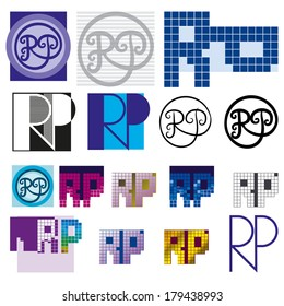 monogram RP Colorful set of two letters in the graphics bundle