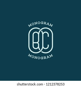 Monogram two letters B and C. Vector illustration.
