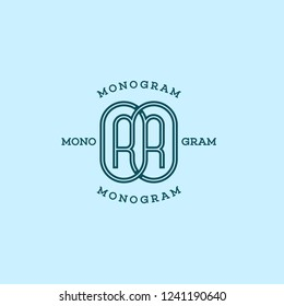 Monogram two letters R in linear style. Vector illustration.