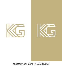 "monogram vector letter ""KG"", outline logo letter ""KG"""
