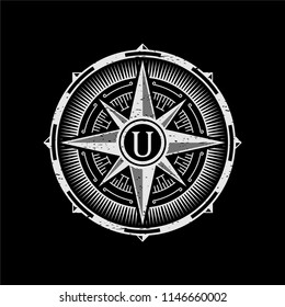 monogram vintage compass logo design