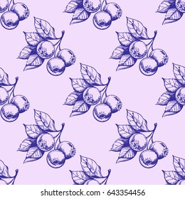Monohrome set of vector blueberries isolated on light purple background