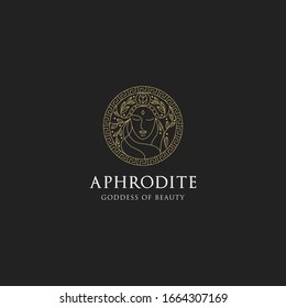 Monoline aphrodite greek women goddes of beauty with decorative circle vector illustration