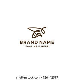 monoline bumble bee logo line art outline vector illustration