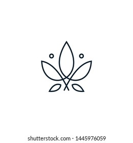 Monoline cannabis leaf logo design vector illustration