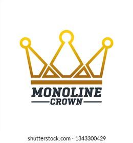 Monoline Crown icon, Creative crown logo icon, minimalis crown symbol icon