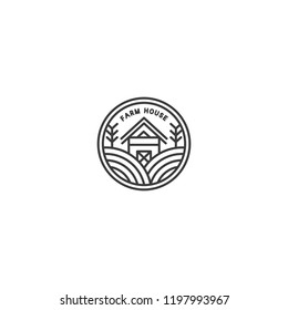 Monoline Farm Badge Logo Design Vector Template