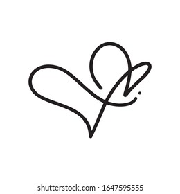 Monoline Heart love logo sign. Design flourish element for valentine card. Vector illustration. Romantic symbol wedding. Template for t shirt, banner, poster.