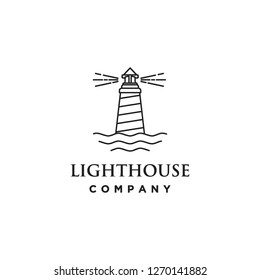 monoline lighthouse building architecture logo icon vector template