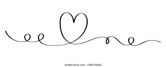 monoline Love heart vector, continuous one line drawing. Vector illustration for web, wedding and print - vector illustration