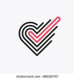 Monoline romantic choice logo, vector symbol of heart with checkmark, line graphical love emblem.