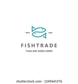 monoline simple two fish mirrored logo icon vector inspiration