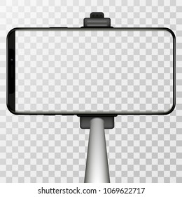 Monopod Selfie stick with empty iphone  screen for your design