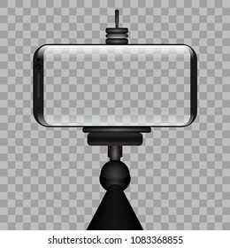 Monopod Selfie Stick With Transparent Smartphone Screen. EPS10 Vector