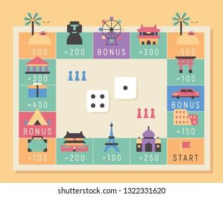 Monopoly concept landmark icon board game. flat design style minimal vector illustration