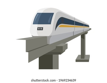 Monorail simple illustration in perspective view.