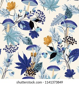 Monotine on blue shade Autumn night garden seamless pattern with hand drawn leaf,mushroom,flowers,pine nuts, oak in the forest motives vector for fashion fabric and all prints