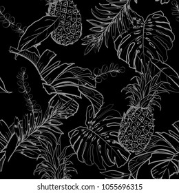 Monotone black and white , summer night Outline hand drawing Exotic leaves seamless pattern. Tropical leaves and pineapples summer vector on blackt color  background
