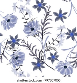 Monotone blue  Embroidery wild flowers . Stitching  art.  symbol, Bloomimg design. Embroidery botanical  garden floral Template t-shirt design, clothes on white