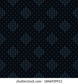 Monotone blue pattern seamless background abstract gingham check motif. Minimalist dotty geo ornament. Small square shapes all over print block for apparel textile, ladies dress fabric, shop window.