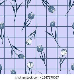 Monotone blue Seamless hand drawn  blooming tulip flowers on grid line check  background. Vector summer design for fashion fabric and all prints on light blue background color