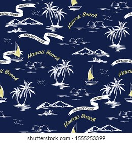Monotone blue Summer Beautiful seamless island pattern contrast with retro yellow text. Landscape with palm trees, beach , hibiscus flower,mountain and ocean vector hand drawn style on dark blue