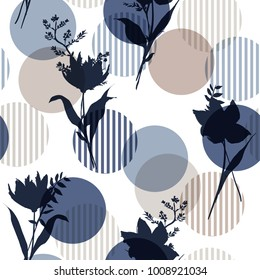 Monotone in blue Vector botanic silhouette floral seamless pattern on modern colorful stripe polka dot, delicate flower wallpaper, wild flowers